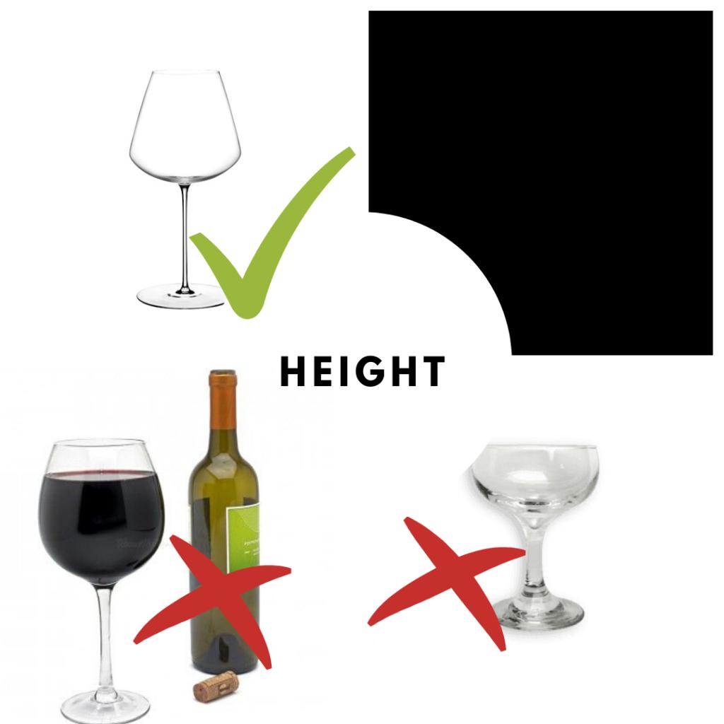 wine tasting glasses height
