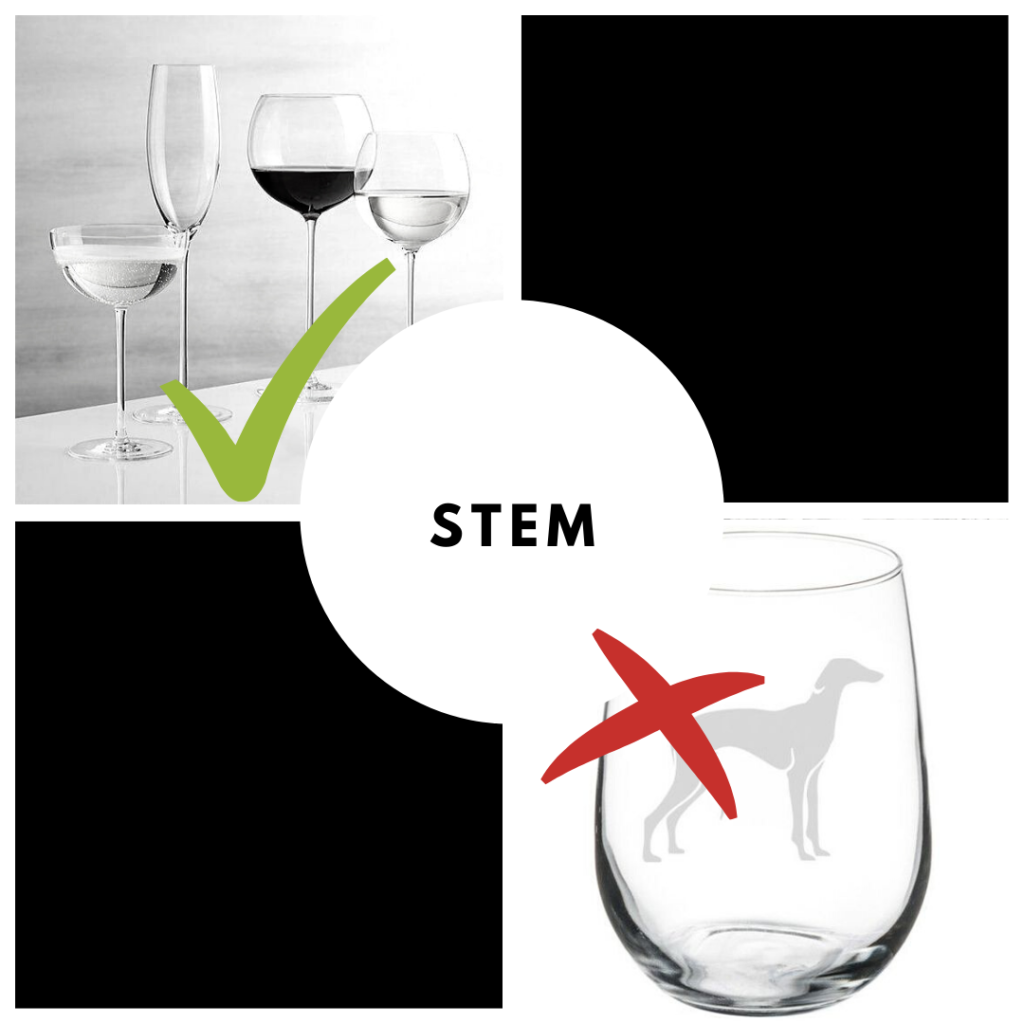 wine tasting glasses stem