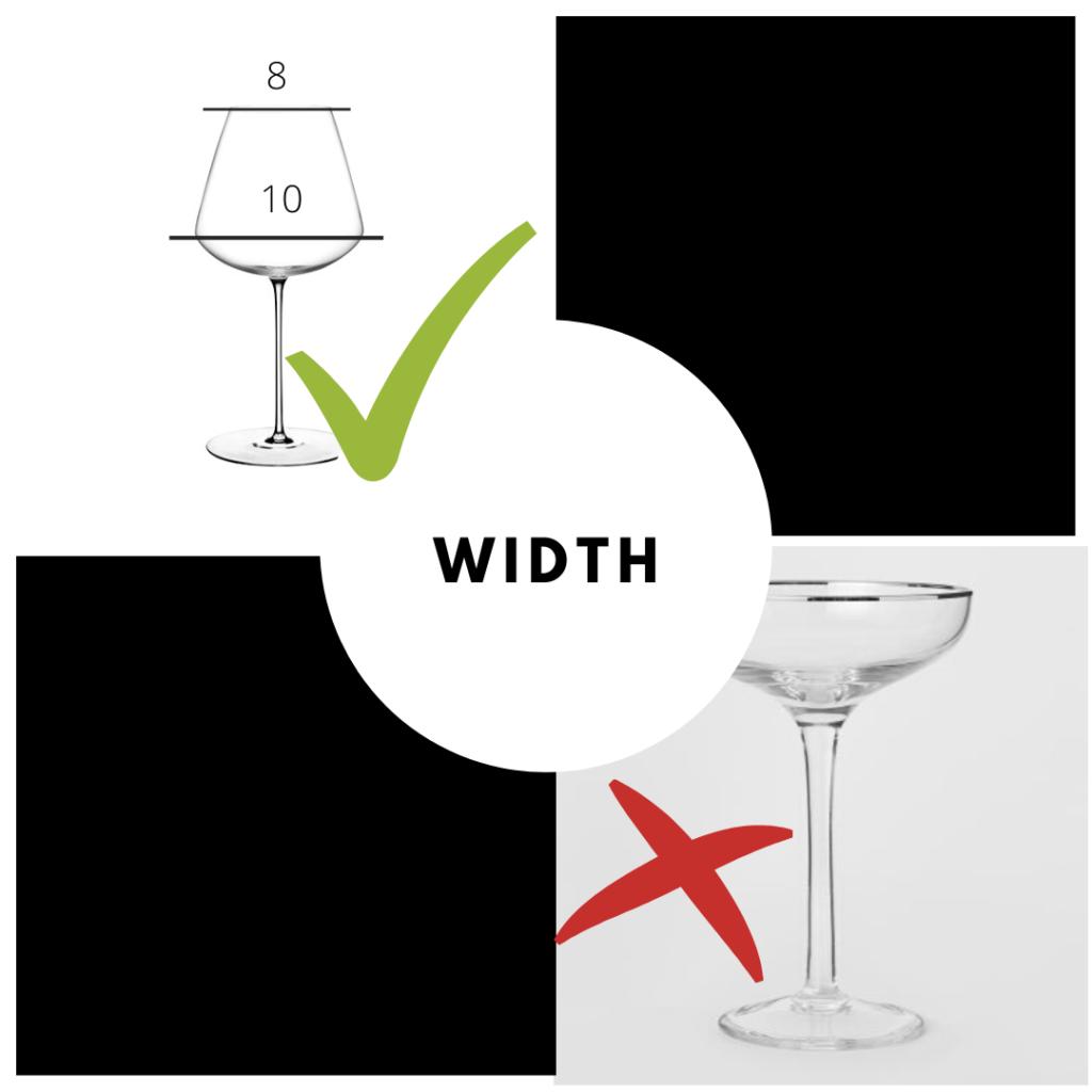 wine tasting glasses width